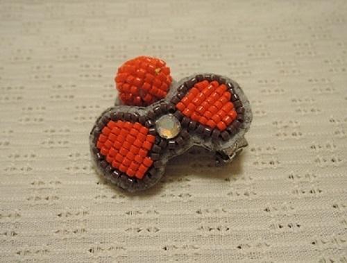 リボンイヤリング(オレンジ)