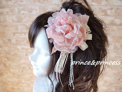 ピンクラメの髪飾り*コサージュ*