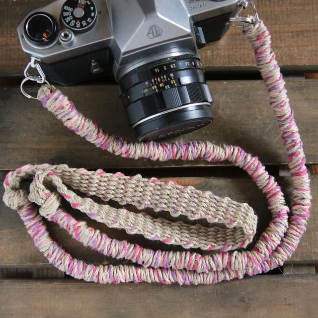 MIX麻紐ヘンプカメラストラップpink(2重リング)