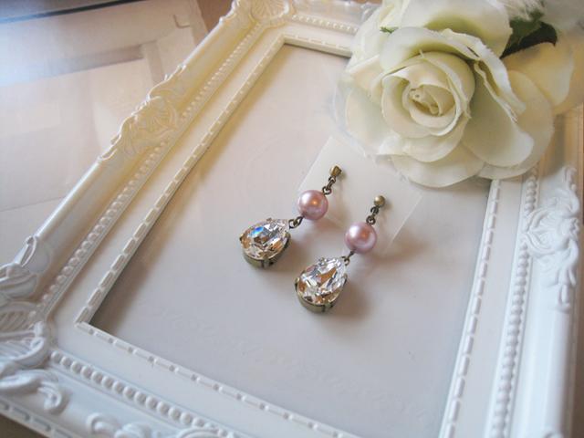 チェコガラスパール&スワロフスキークリスタルピアス<D:ピンク>Bridal*