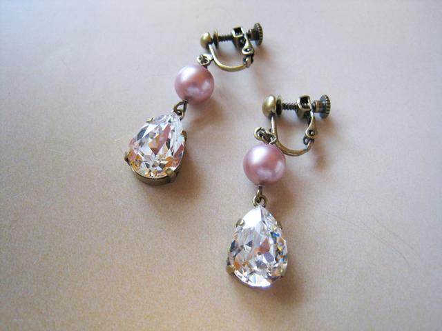 チェコガラスパール&スワロフスキークリスタルイヤリング<D:ピンク>Bridal*