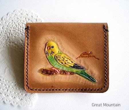 インコ セキセイインコ 財布 鳥グッズ コインケース 革 カード インコグッズ 鳥