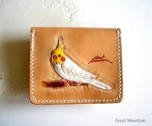 インコ オカメインコ 財布 鳥グッズ コインケース 革 カード インコグッズ 鳥