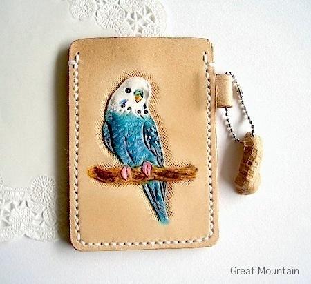 インコ セキセイインコ パスケース インコ 鳥 革 レザー カードケース 鳥グッズ