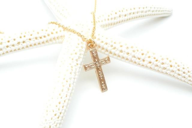 再販【14kgf】クロス(十字架 模様入り)のネックレス
