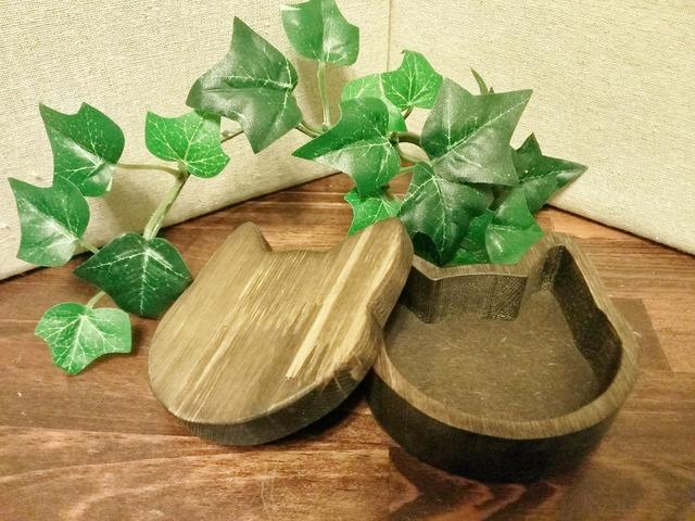 木製☆猫の小箱☆ダークウォルナット
