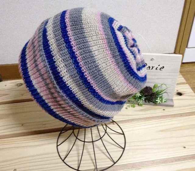 とてもかぶりやすい帽子です ブルーピンク