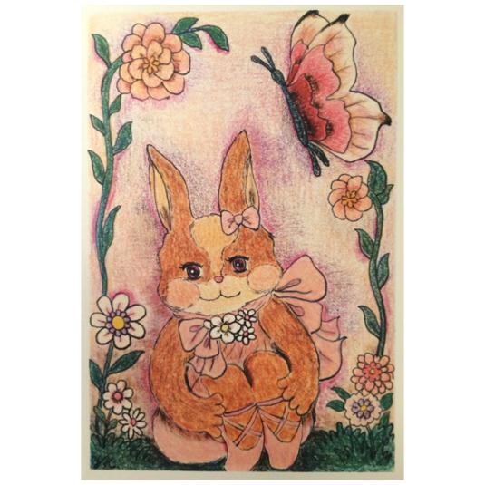 座るウサギさんポストカードセット