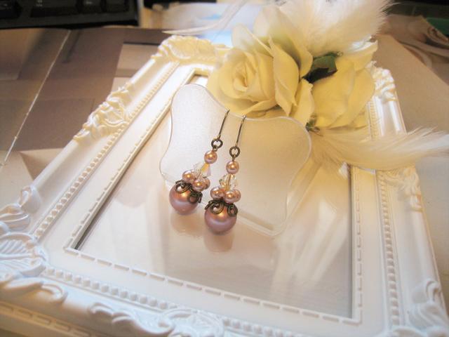 チェコガラスパール&クリスタルピアス<G:ピンク>Bridal*