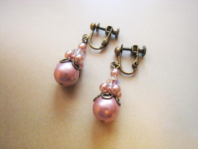 チェコガラスパール&スワロフスキーイヤリング<G:ピンク>