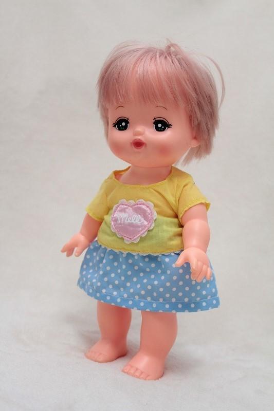 メルちゃんのスカート(水色ドット)