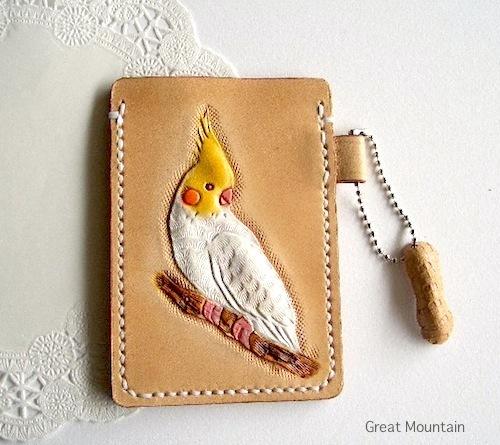 インコ オカメインコ パスケース インコ 鳥 革 レザー カードケース 鳥グッズ