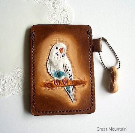 インコ セキセイインコ インコグッズ カードケース 鳥 革 レザー 定期入れ 鳥グッズ