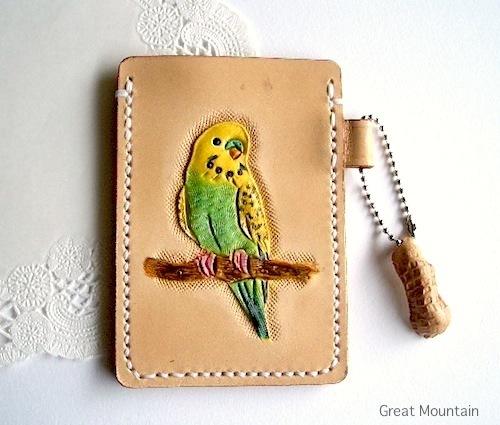インコ セキセイインコ 並セキセイインコ カードケース 鳥 革 レザー 定期入れ 鳥グッズ