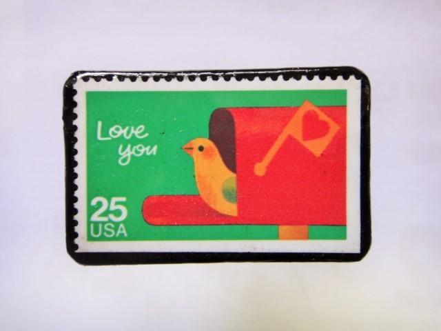 アメリカ 切手ブローチ1032