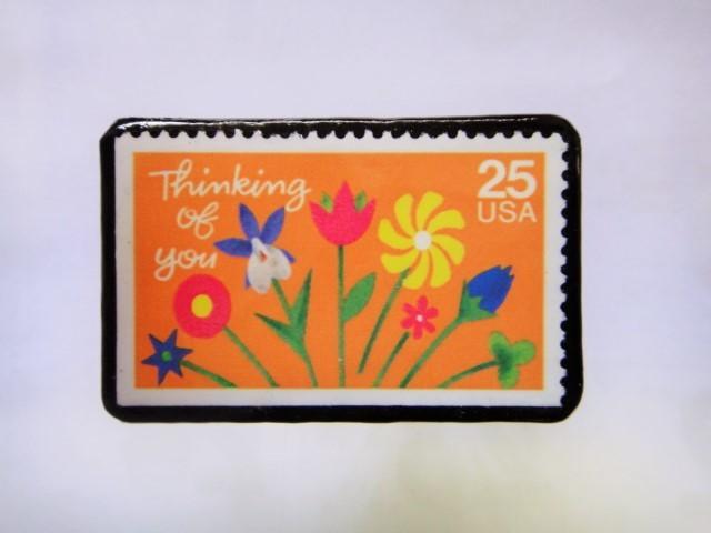アメリカ 切手ブローチ1034