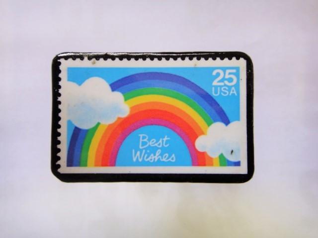 アメリカ 切手ブローチ1035