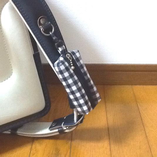 ランドセル用 キーケース☆ブラックギンガムチェック リール式