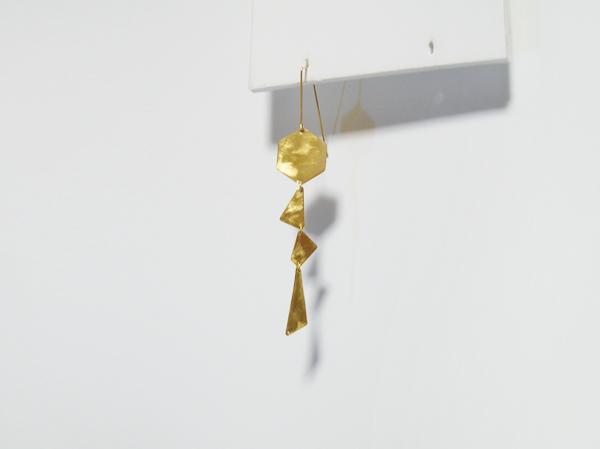 (再販)【片耳】真鍮の多角形とK14gfのロングピアス