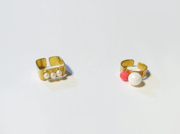 (再販)パールと珊瑚の真鍮リング