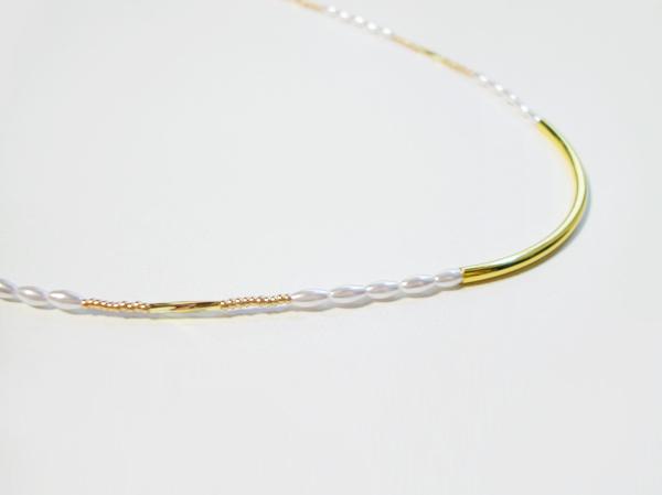 (再販)パールとメタルの華奢なラインのネックレス