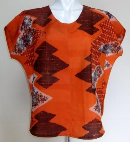 着物リメイク 銘仙の着物で作ったTシャツ 1295