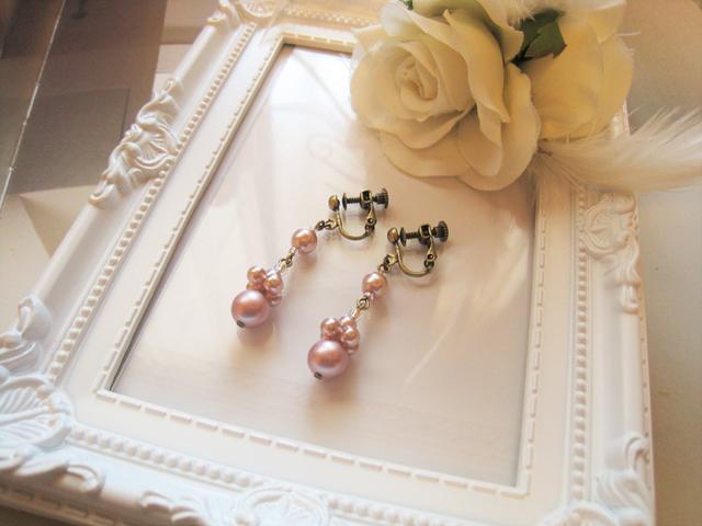 チェコガラスパールエレガントイヤリング<Elisse:ピンク>Bridal*