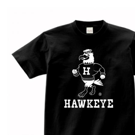 アイオワ・ホークアイ・オールドスクール風 カレッジ 150.160.(女性M.L) S〜XL Tシャツ【受注生産品】