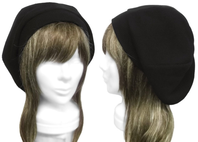 ワッフルコットンニット/リブ付ベレー帽(ゆったり)◆黒