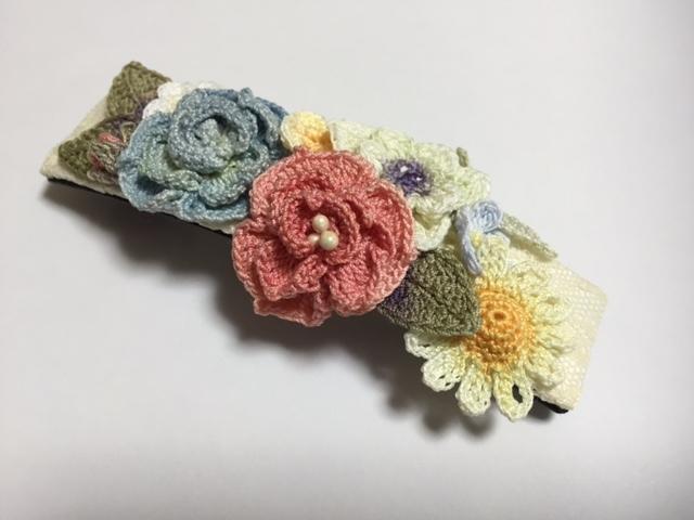 ♪手染めのお花バレッタ(A)レース編みで♪