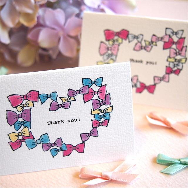 MINI CARD -THANK YOU  RIBBON HEART 2PC SET-
