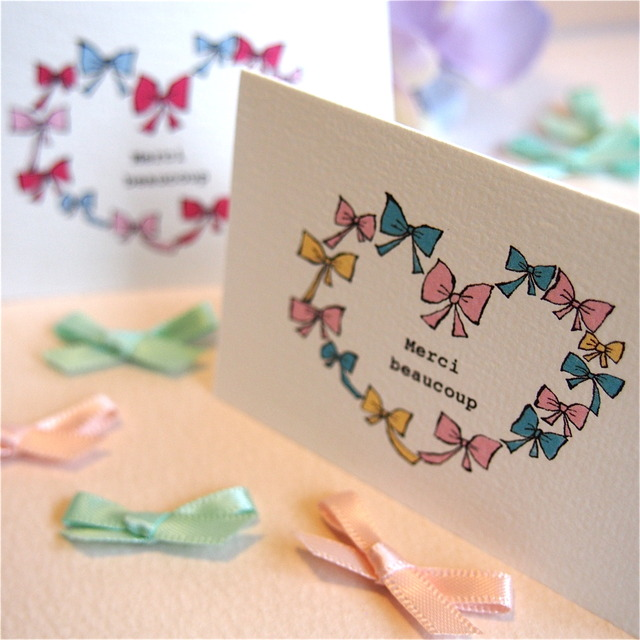 MINI CARD - MERCI RIBBON HEART 2PC SET-