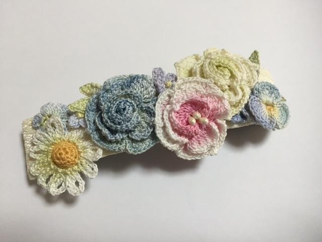 ♪手染めのお花バレッタ(B)レース編みで♪