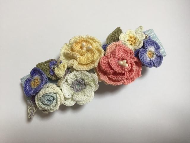 ♪手染めのお花バレッタ(C)レース編みで♪