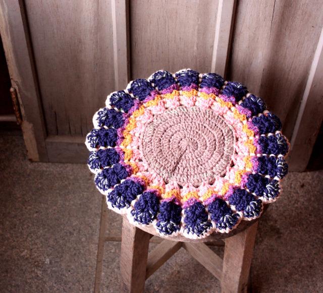 お花の円座 リバーシブル 33cm