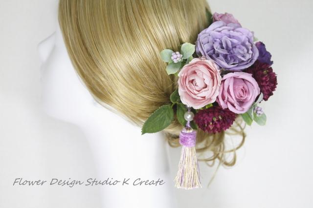 和洋装:モーブピンクの薔薇とマムのヘッドドレス