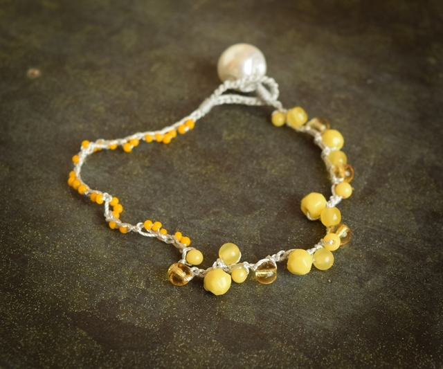 【金属フリー】Yellow color bracelet