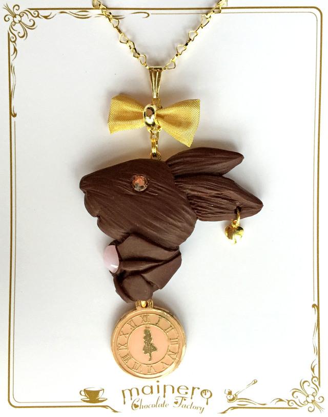 【限定カラー】アリスの時計とウサギのレリーフチョコネックレス?ピンク
