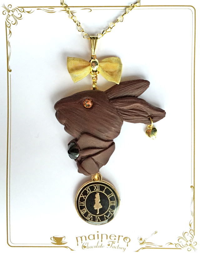 【限定カラー】アリスの時計とウサギのレリーフチョコネックレス?ブラック