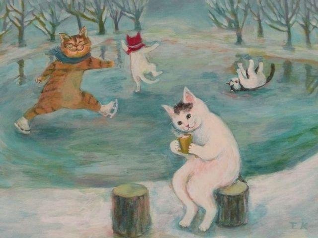 猫の絵「冬のたのしみ」