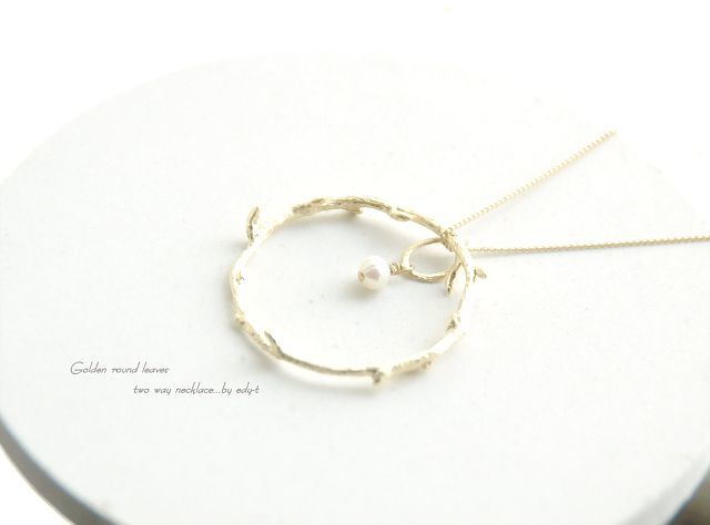 edy-t■golden round leavesネックレス☆送料無料