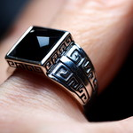 Black Onyx Checkerboard Cut Square Antique Ring