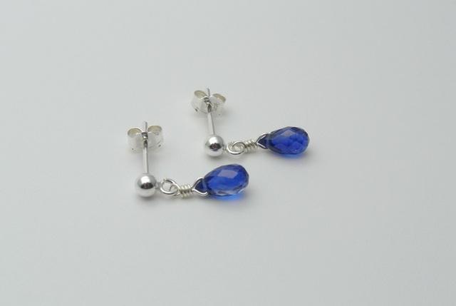 【silver925】カイヤナイト(ドロップ)のスタッドピアス