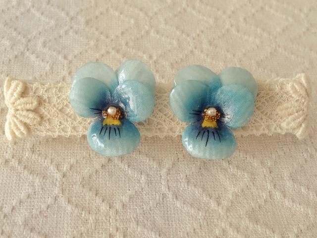 染め花を樹脂加工したビオライヤリング( S・ターコイズブルー)