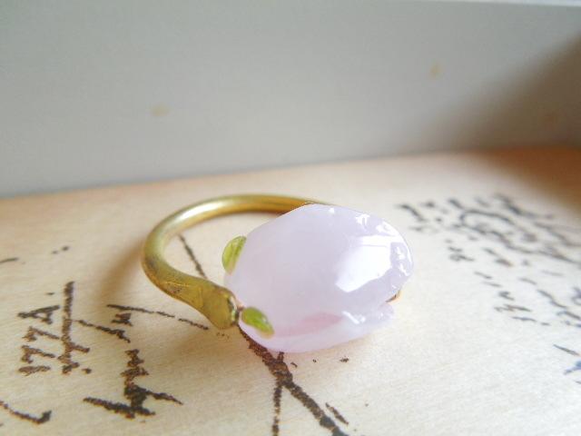 【FT】薔薇のつぼみリング(ミルキーピンク×金)