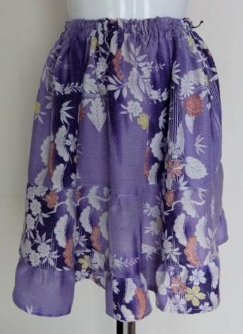 着物リメイク 花柄の着物で作ったミニスカート 1303