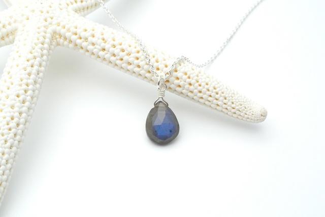 再販【silver925】ブラックラブラドライト(ペアシェイプ)のネックレス