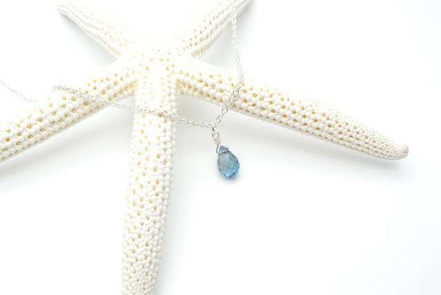 【silver925】ロンドンブルートパーズ(ドロップ)のネックレス