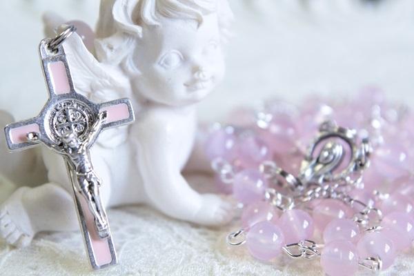 ピンクカルセドニーのロザリオ