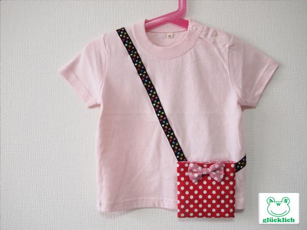 ポケット付きTシャツ/90サイズ/ライトピンク×水玉